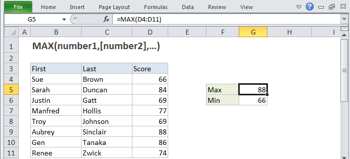 function max | Excel training