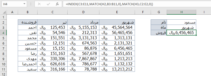 تابع index و match